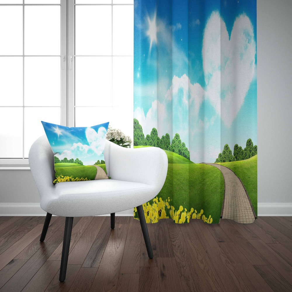 Else Green Nature Blue Sky Hearts Clouds Yellow Tulips 3d Print Living Room Bedroom 1 Panel Set Curtain Combine Gift Pillow Case