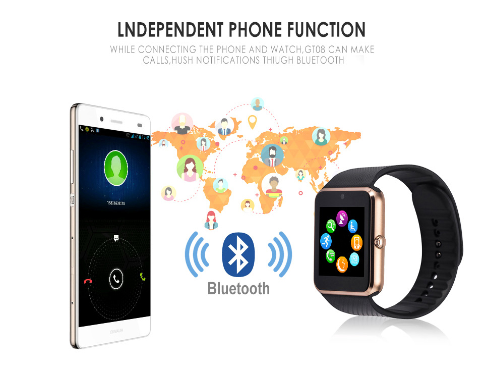 GT08 Metal Strap Bluetooth Wrist Smartwatch Support Sim TF Card Android&IOS Watch gold x1 17