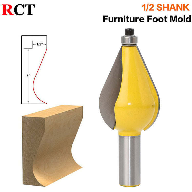 1PC 1/2 Shank Large Furniture Foot Mold Router Bit Line knife Woodworking cutter Tenon Cutter for Woodworking Tools high grade carbide alloy 1 2 shank 2 1 4 dia bottom cleaning router bit woodworking milling cutter for mdf wood 55mm mayitr