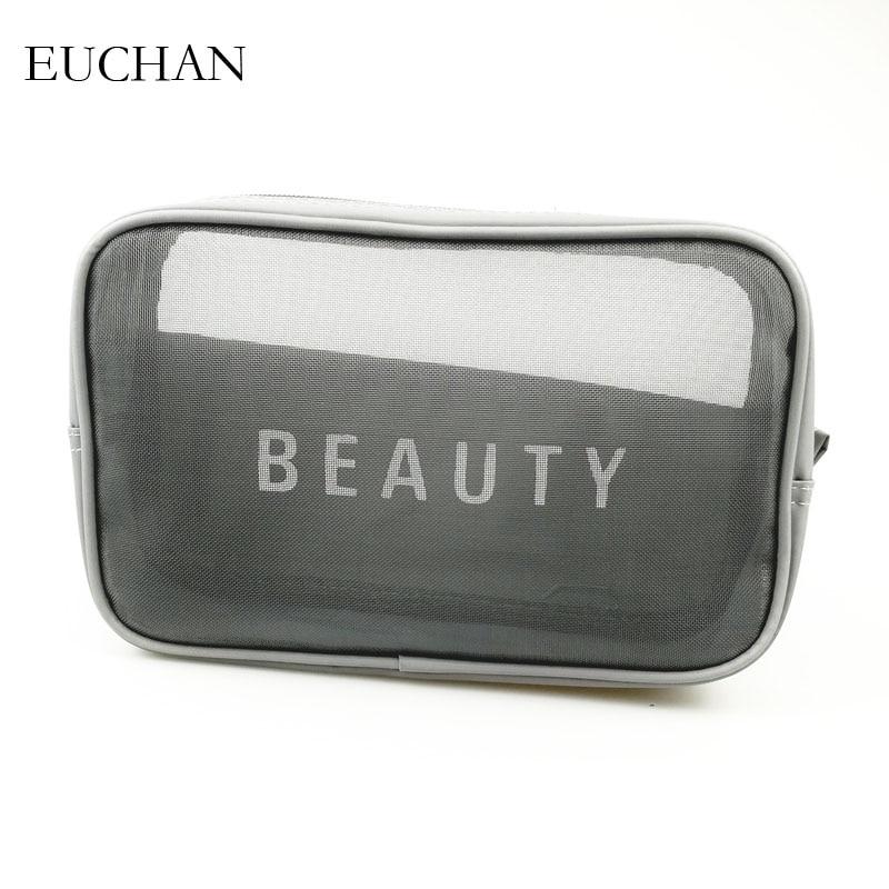 716573732 Euchan Comestic Sacos de Malha Carta Moda Make up Caso Organizador da  Viagem Bolsa Kits de
