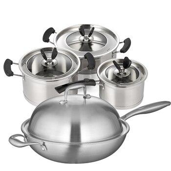 Набор посуды, кастрюли и сковороды из нержавеющей стали, 6 шт., набор кастрюль для приготовления пищи, сковорода для молока, визуальная стекл