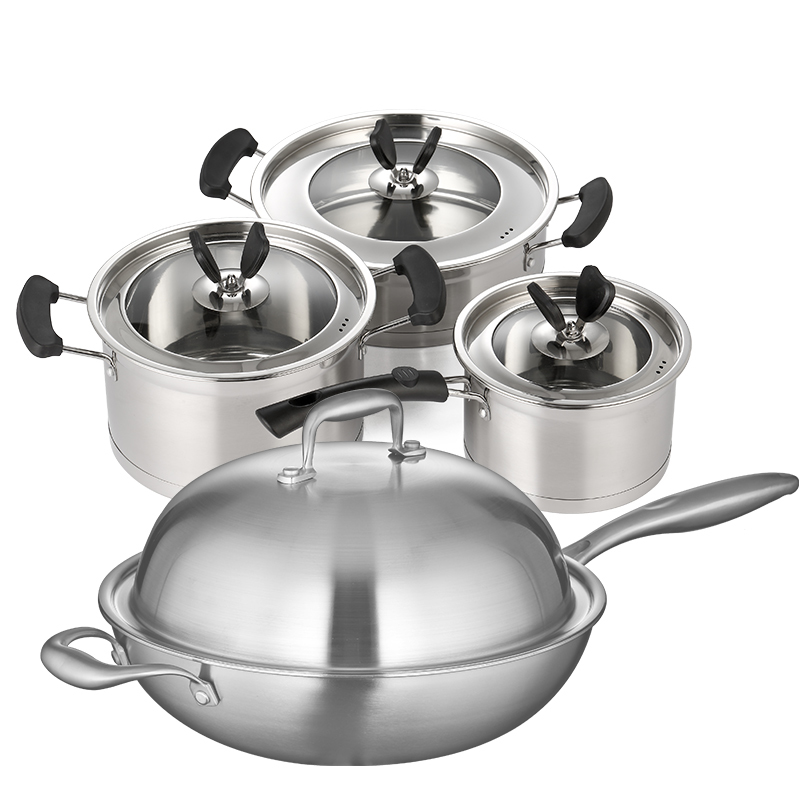 Ensembles de casseroles casseroles et casserole en acier inoxydable 6 pièces cuisine casseroles poêle casserole à lait en verre visuel couverture anti-chaud poignée