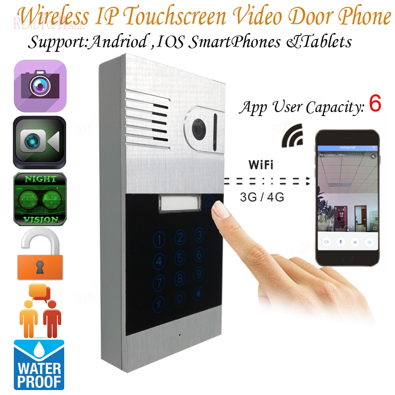 3G WIFI Video Door Phone Touchscreen IP Intercom System with android /iOS smart phone and Video Recording 2015 free shipping wifi video door phone door bell intercom systems app can be run in android and ios devices