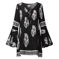 ZANZEA Boho Summer Women Deep V Keyhole Loose Long Bell Sleeve Vintage Floral Print Blouse Shirt