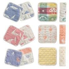 8layers 7.87*7.87inch Cartoon Animal Fruit Geometry Print Baby Bibs Toddler Outdoor Carrier Cotton Gauze Teething Towel