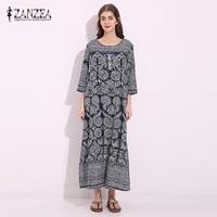 ZANZEA Women Round Neck Tunic Cotton Shirt Dress Oversized Loose Vintage Floral Print Vestido Long Maxi