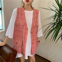 NiceMix Women Autumn Spring Fashion Vest Waistcoat Lady Office Wear Long Coat Casual Sleeveless Jacket Plus