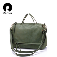 Фотография REALER brand women handbag with two straps high quality PU leather tote bag retro shoulder messenger bags green/gray/blue/red