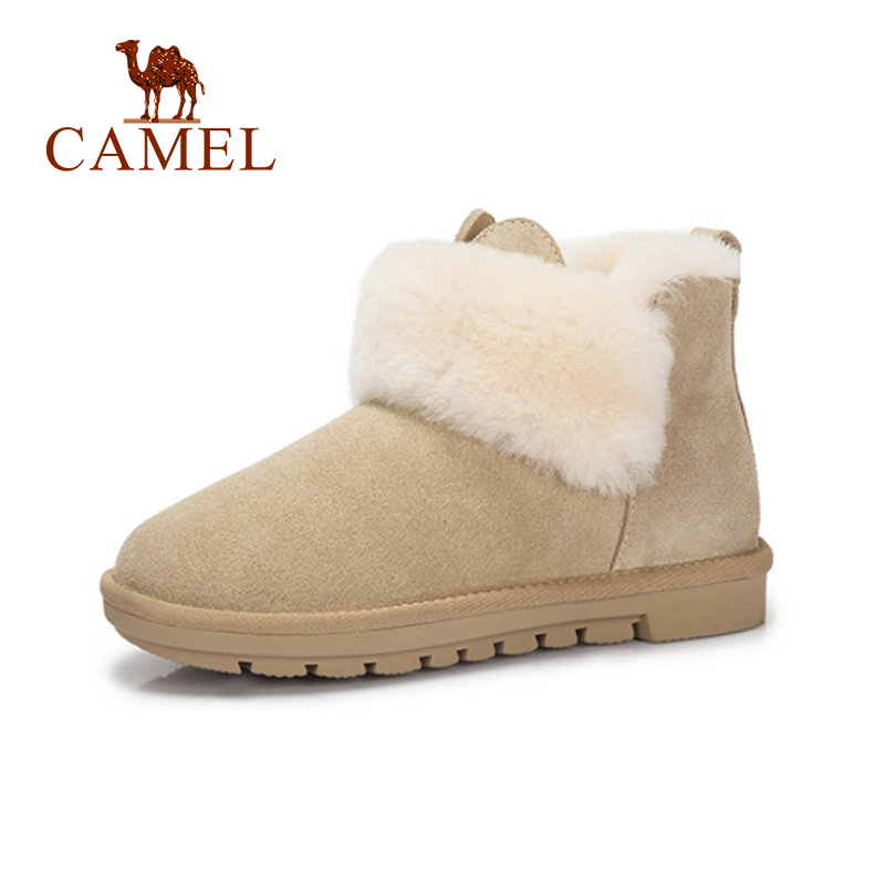 цена на CAMEL Cut Style Snow Boots Winter Women Furry Boots Shoes Women Flat Heel Plus Velvet Keep Warm Comfortable Shoes For Girls