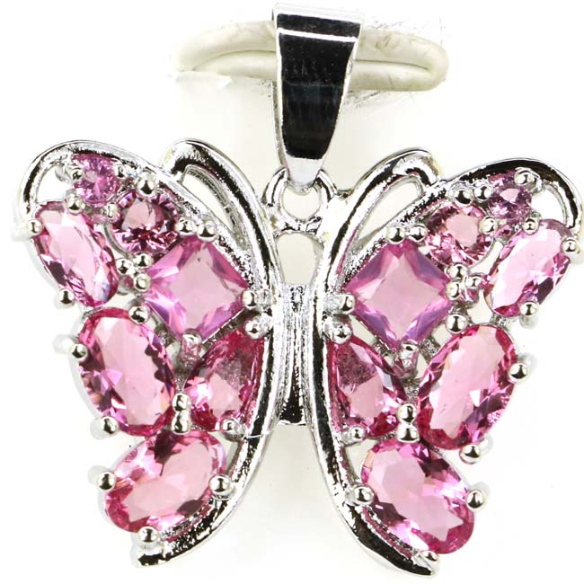 Classic Butterfly Shape Pink Tourmaline Woman's Wedding Silver Pendant 27x18mm