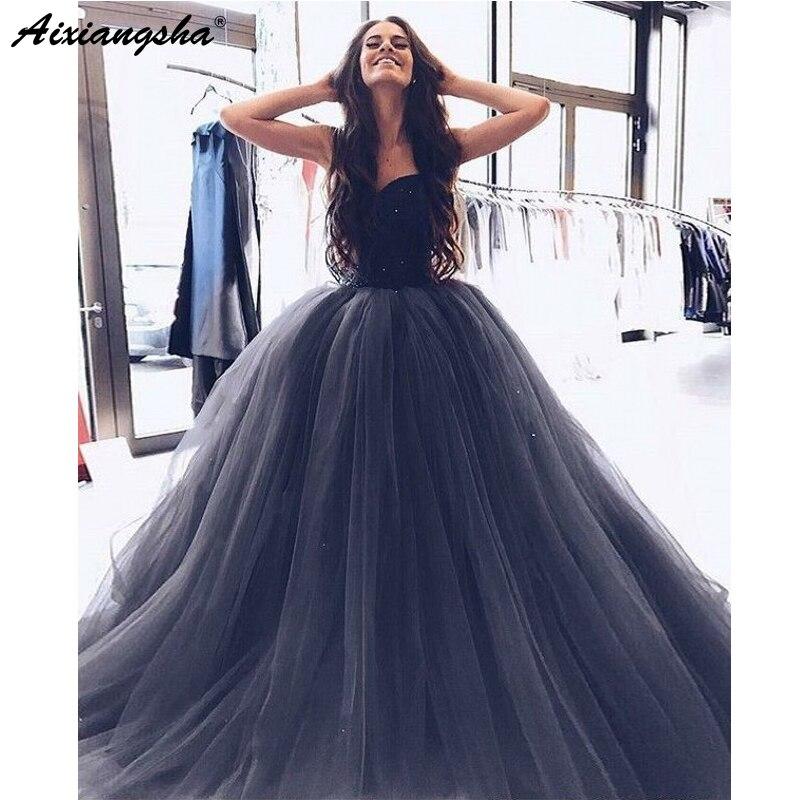 acheter en ligne professionnel de la vente à chaud acheter maintenant US $112.1 5% OFF|Gorgeous Ball Gown Evening Dress 2019 robe soiree dubai  Sweetheart Beading Gray Tulle Long Prom Dresses-in Prom Dresses from  Weddings ...