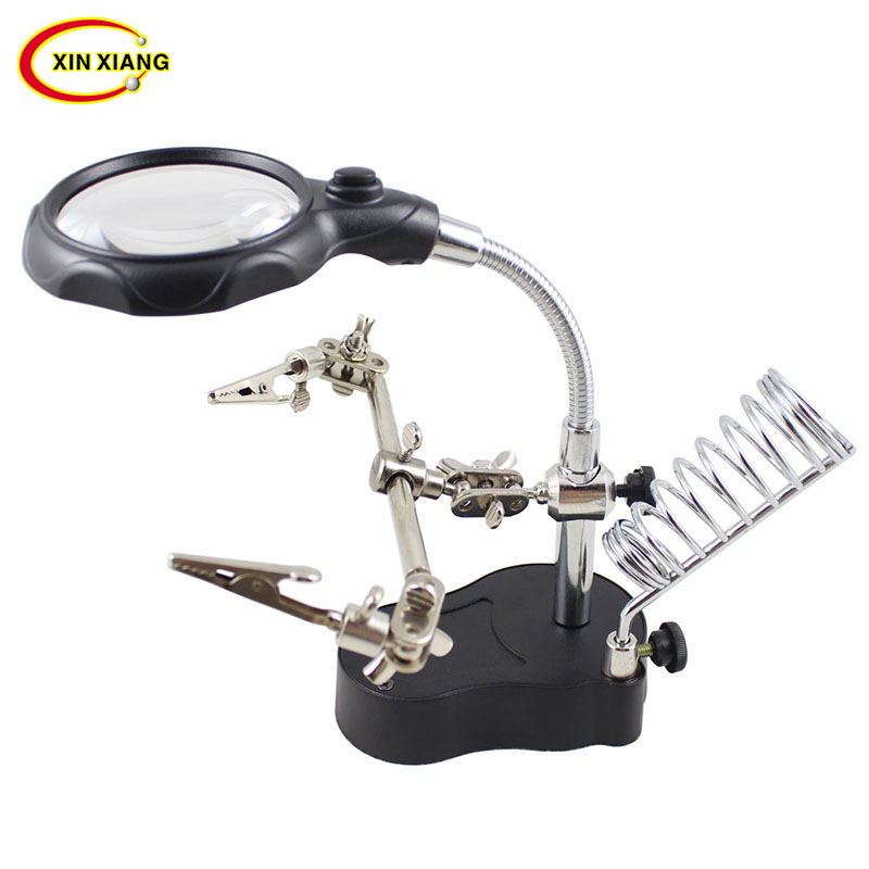 2 LED Illuminated Magnifier With LED Table Lamp Magnifier Desktop Jewelry Loupe For Electronic Repair Soldering Magnifying Glass