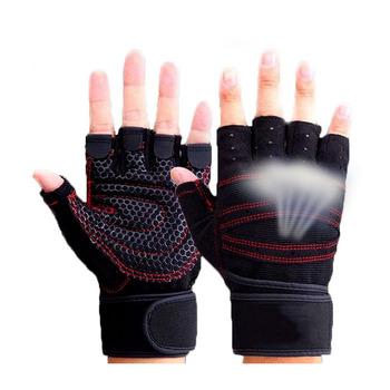 Pół palca rękawice gimnastyczne wagi ciężkiej do ćwiczeń sportowych rękawice do podnoszenia ciężarów kulturystyki sport treningowy rękawiczki do ćwiczeń tanie i dobre opinie Podnoszenie ciężarów rękawice T003 MOANA-LPS black blue red pink M L XL fitness weight lifting