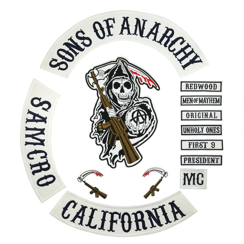 US $14.9 |42cm Son Of Jacket Back Embroidered Anarchy Patch Motorcycle MC Biker Club Patch 35CM Full Back SOA Patches in Patches from Home & Garden on