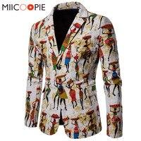 Mens Fashion Cotton Linen Blazers Men Suits African Print Casual Slim Fit Jacket Men Suit Terno Masculino Blazers Hombre