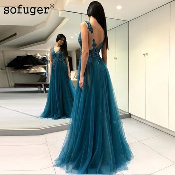 Green Long Prom Dresses Beach Appliqued Tulle Evening Dress Women Backless Party Gown Sexy High Slit Backless 2019 New Elegant