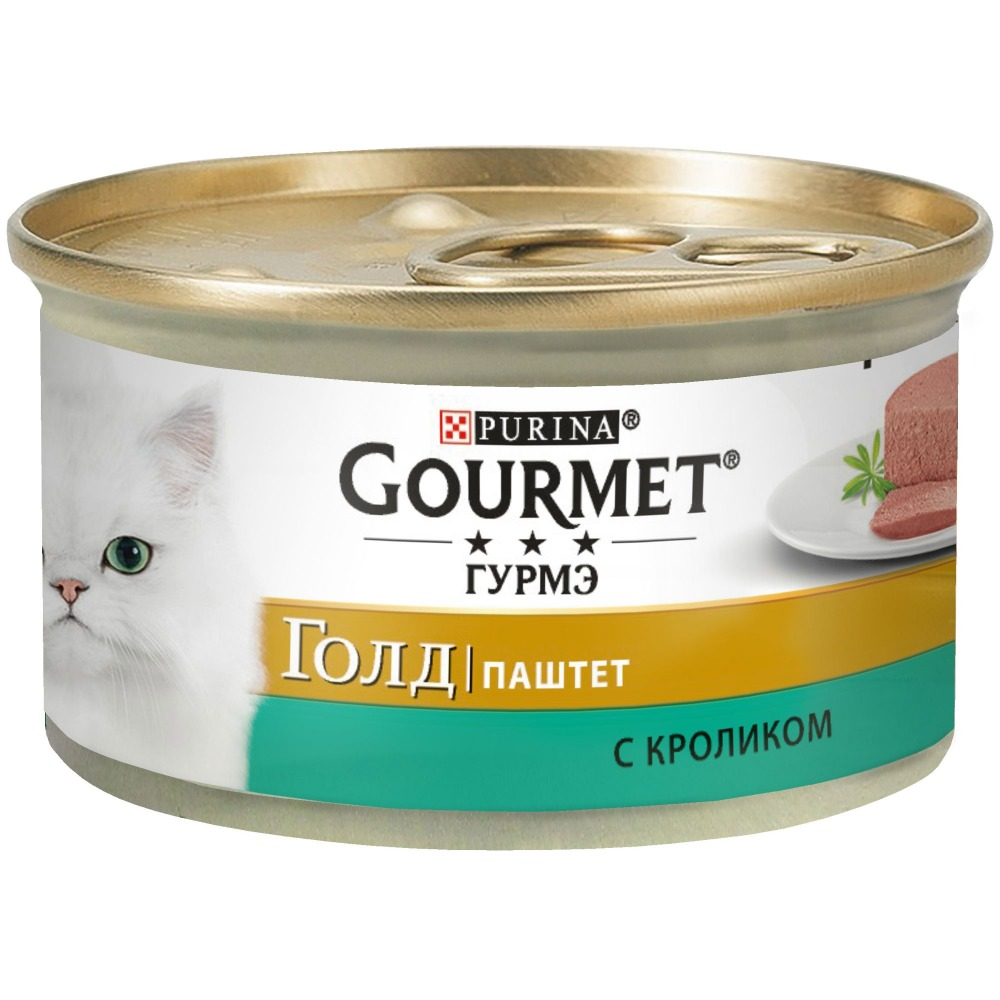 Wet food Gourmet Gold Pate for cats with a rabbit, Bank, 24x85 g.