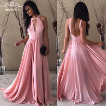 1353f777cab Chiffon Dark Pink Long Bridesmaid Dresses For Women 2018 Sexy Keyhole Neck  Backless A Line Maid Of Honor Dress Prom Gowns
