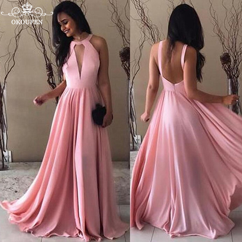 Chiffon Dark Pink Long   Bridesmaid     Dresses   For Women 2018 Sexy Keyhole Neck Backless A Line Maid Of Honor   Dress   Prom Gowns