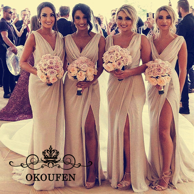 c823dffb6d85f US $66.07 22% OFF|Champagne Chiffon Long Bridesmaid Dresses For Women 2019  Side Split Plunging Neck Cheap Under 100 Maid Of Honor Dress Party-in ...