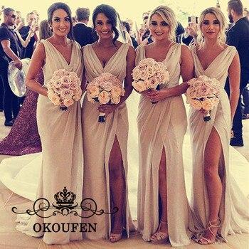 c35435e1b Vestidos largos de dama de honor de la sirena de la gasa del champán para  las mujeres Vestido de invitado de la boda del cuello