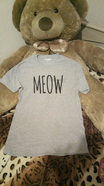 100% Cotton Meow Print Women Cat T Shirt