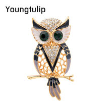 Young Tulip Cute Golden Alloy Owl Brooches for Women Luxury Enamel Pin Fashion Party Gift Corsage Coat Dress Accessories 2018(China)