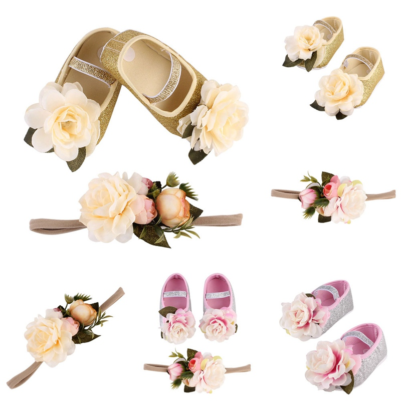 New Baby Girl Flower Sequins Shoes Sneaker Anti-slip Hand Soft Toddler Shoes+1pc Hairband Elastic Band Baby Born First Walkers