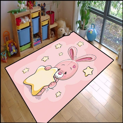 Else Pink Rabbit Stars Cute Animals Girl Carpet 3d Print Non Slip Microfiber Children Kids Room Decorative Area Rug Kids  Mat