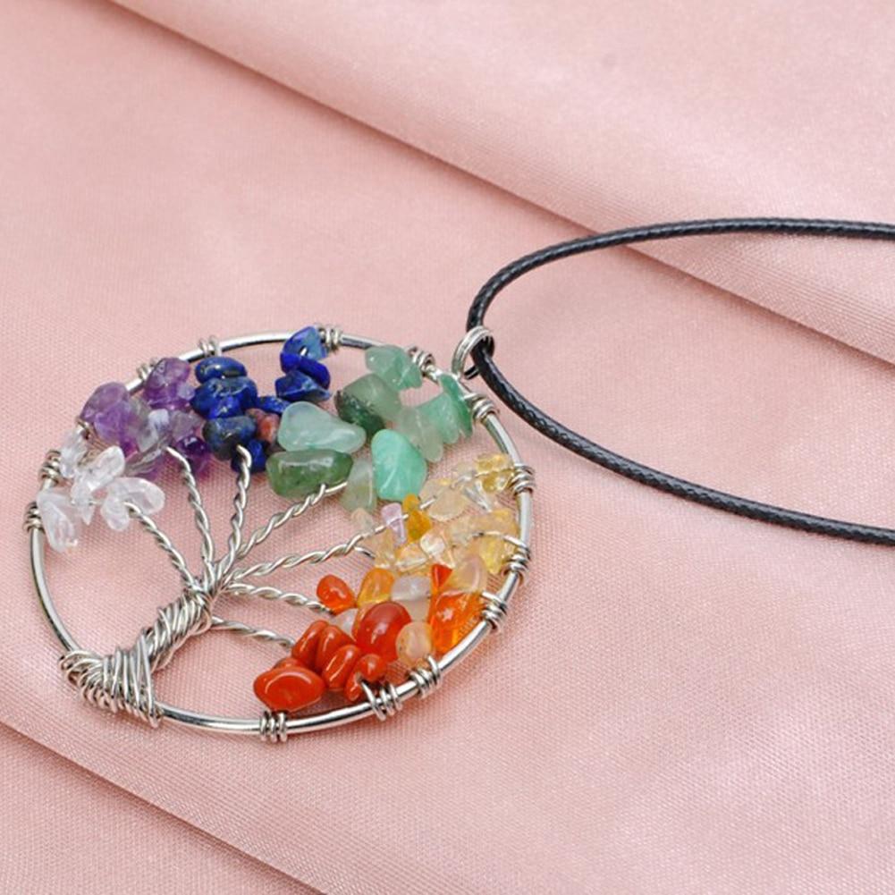 Women Rainbow Tree Of Life Quartz Pendant Necklace