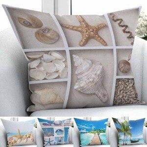 Outra Praia Tropical Mar Estrela Do Mar Para Casa A Natureza 3D Impressão Caso Jogar Travesseiro Cobre fronha Praça Zíper Escondido 45x45 cm