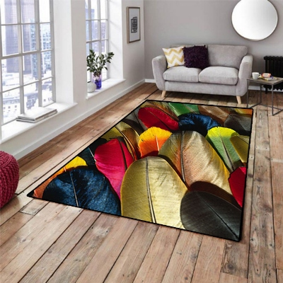Else  Colored Bright Bird Feathers 3d Pattern Print Non Slip Microfiber Living Room Decorative Modern Washable Area Rug Mat