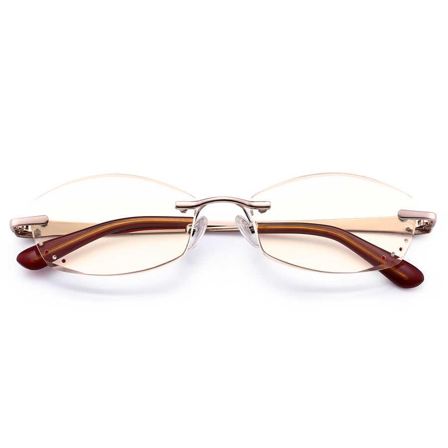 5c016222ba20 Women Diamond Cutting Reading Glasses Anti Blue Rays Female Royal Luxury  Rhinestone Alloy Frames Rimless Readers