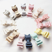 2pcs/lot Triple Layers Hair Bow Prince Kid Girl Clip Faux Glitter Felt Litchi Stria PU Leather Grip Gold Icecream