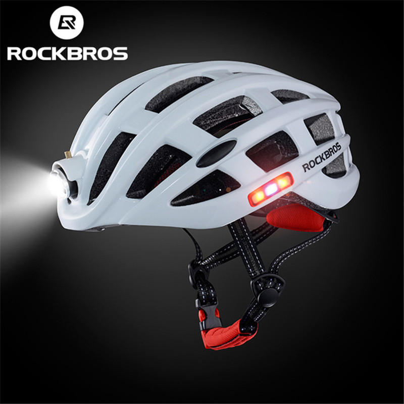 Rockbros Mountain Road Bicycle Helmet With Rechargeable Light And Fly Net Cycling Equipment Bicycle Helmet For MTB Bikes moon cycling helmet ultralight bicycle helmet in mold mtb bike helmet casco ciclismo road mountain bike safty helmet