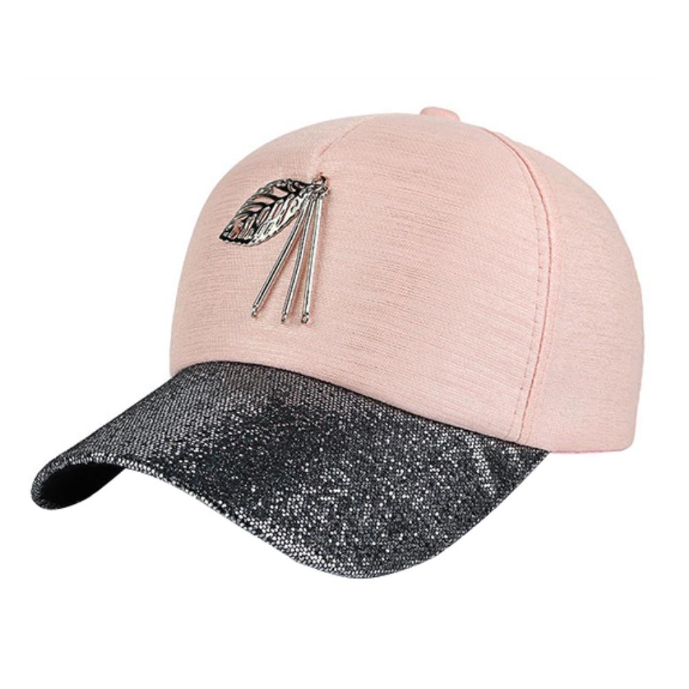 Femmes métal creux feuille pendentif paillettes brillantes Snapback Hip Hop casquette de Baseball