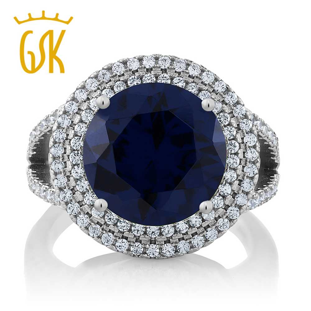 Gemstoneking Real 925 Sterling Silver Fine Jewelry 756 Ct Round Blue  Simulated Sapphire Cocktail Rings For