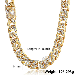 Image 5 - Mens Necklace Hip Hop Gold Miami Iced Out Curb Cuban Chain Necklace For Woman Male Jewelry Dropshipping Wholesale 14mm KGN455