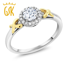 GemStoneKing 0.50 Ct Round Created Moissanite with Accent Diamonds 10K Two-Tone Gold Engagement Ring For Women