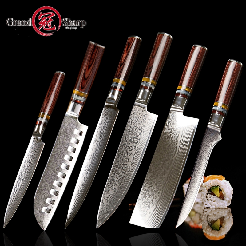 US $227.3 50% OFF|6 PCS knife set vg10 Japanese Damascus kitchen knives  chef santoku cleaver slicing boning utility cooking tools stainless  steel-in ...