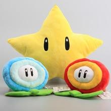 Super Mario Bros желтая звезда 26 см и ледяной цветок и Огненный Цветок 18 см Плюшевые игрушки Мультяшные мягкие куклы 3 вида стилей