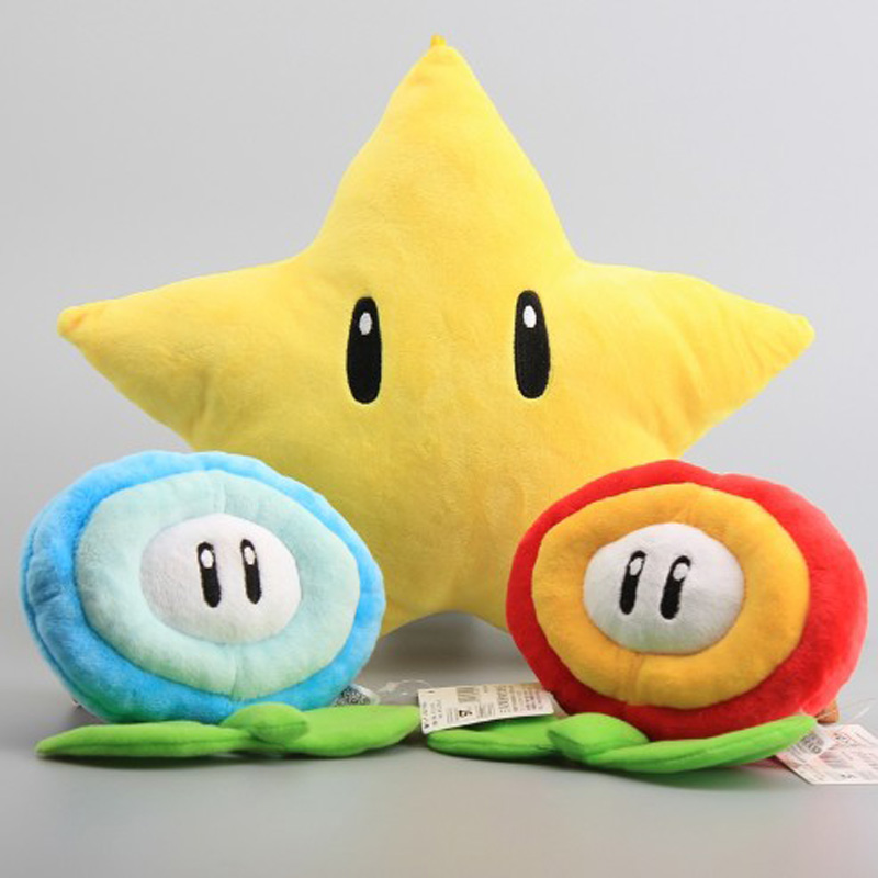 Super Mario Bros Yellow Star 26cm & Ice Flower & Fire Flower 18 cm Plush Toys Cartoon Soft Stuffed Dolls 3 Styles Free Shipping 40cm high quality super mario bros mario luigi stuffed plush dolls soft toys gift for children big size 2pcs lot free shipping