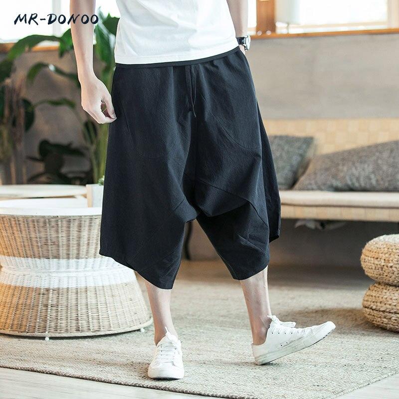 MRDONOO Hommes Pantalon Hommes de Large Entrejambe Harem Pantalon Lâche Grand Recadrée Pantalon à jambes larges Défaites Chinois Style de Lin baggy