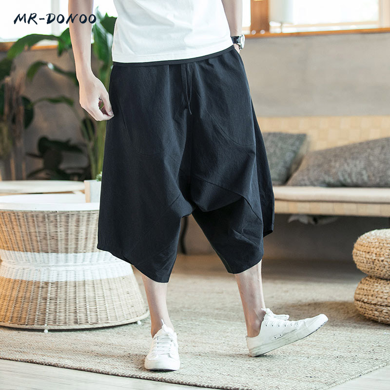 MRDONOO Men's wide crotch harem pants loose summer large cropped trousers wide-legged bloomers Chinese style flaxen baggy 3618 cropped wide sleeve top