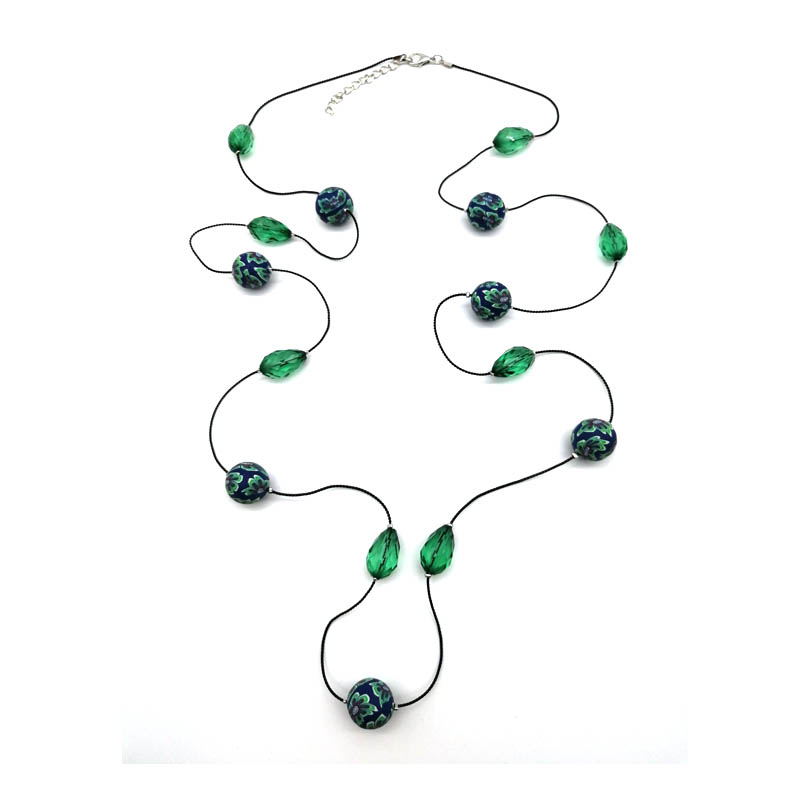 Dandie long chain acrylic bead polymer clay necklace trendy cheap jewelry new arrival in Chain Necklaces from Jewelry Accessories