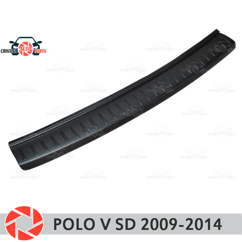 Plate cover rear bumper for Volkswagen Polo Sedan 2009-2014 guard protection plate car styling decoration accessories molding carbon door side wing mirror cover rearview mirror protector cover for volkswagen vw tiguan 2010 2013 car styling accessories