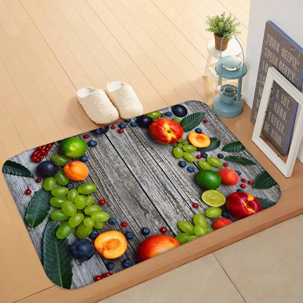 Else Green Grapes Peach Fruits On Gray Wood Lemon 3d Pattern Print Anti Slip Washable Doormat Home Decor Entryway Kitchen Mat