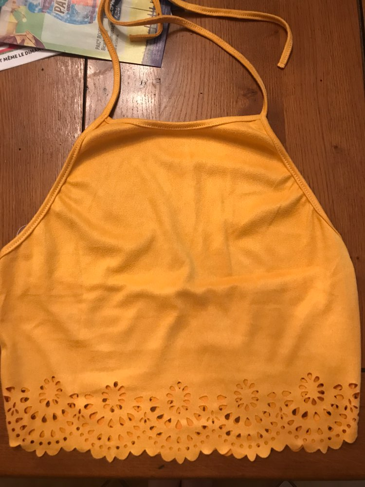 COLROVIE Scallop Laser Cut Suede Halter Tank Top Summer Yellow Cut Out Backless Sexy Cami Hollow Out Vacation Women Crop Top