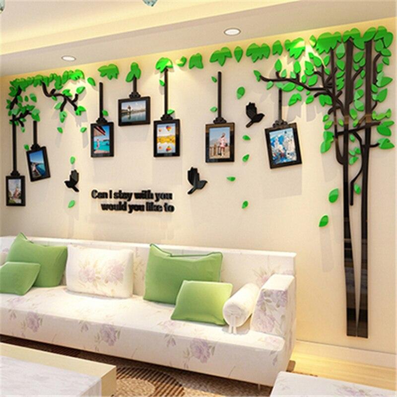 Romantic Tree Three dimensional Acrylic Wall Stickers Living Room Sofa TV Background 3d Wall Sticker Creative Photo Frame Decor