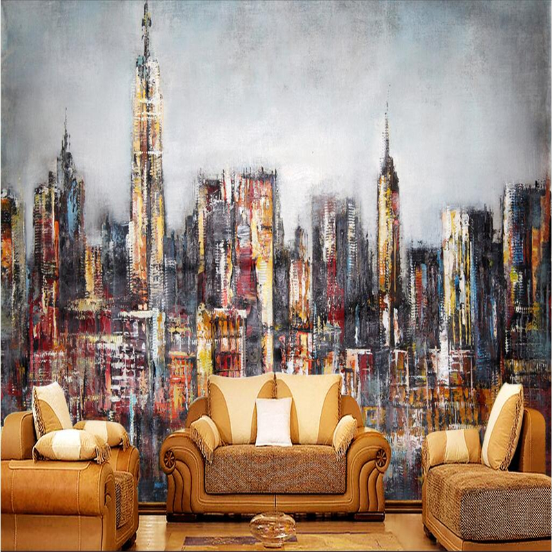 Modern City Wallpapers for Walls 3D Photo Vintage Graffiti Murals Wallpapers Living Room Home Decoration Creative 3D Wall Papers shinehome european roman pillar angel soft roll wallpaper for 3d rooms walls wallpapers for 3 d living room wall paper murals